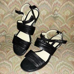 Black Kitty Wedge Sandals